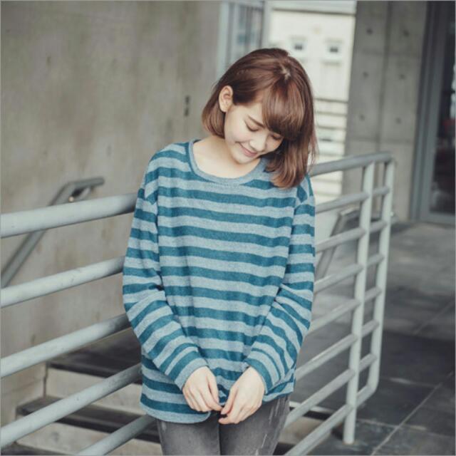 下殺⚡配色條紋圓領上衣(藍綠色)