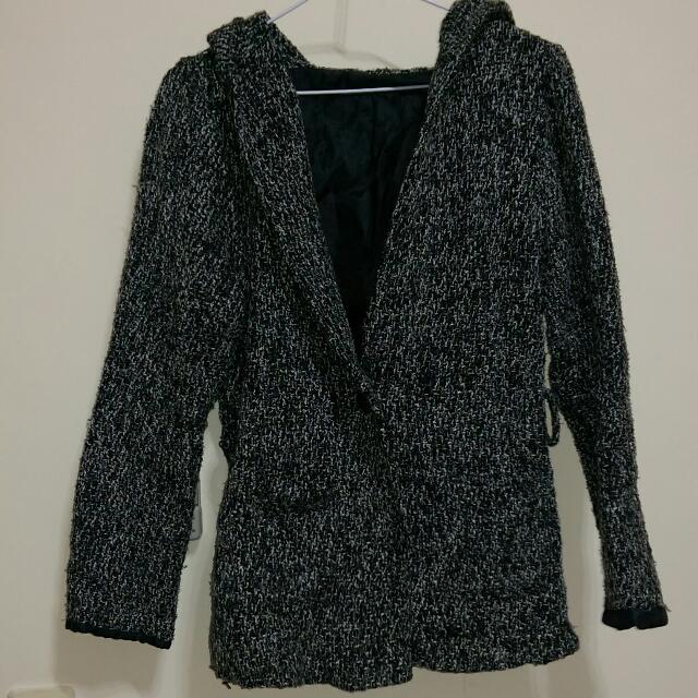 黑白編織外套