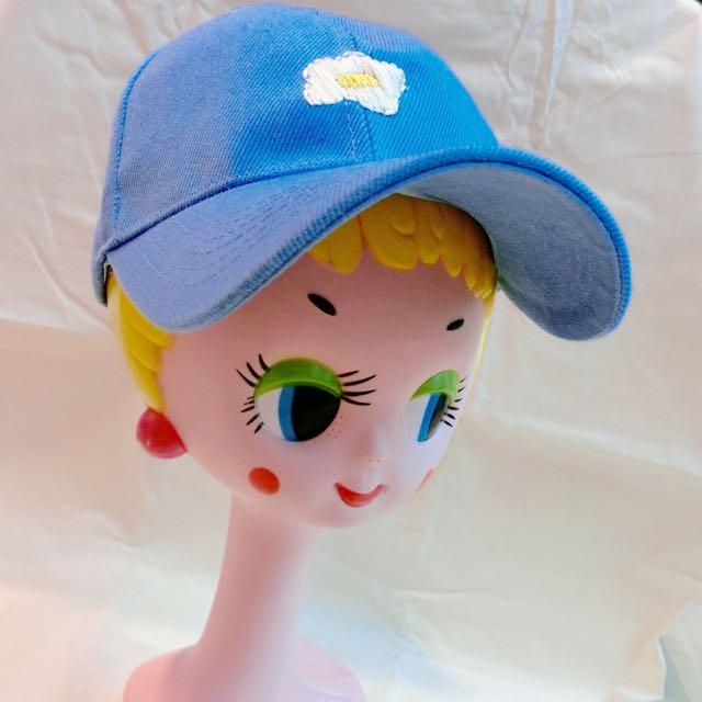 純手工刺繡棒球帽(荷包蛋/粉藍)