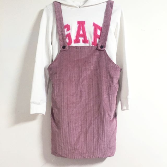 粉色燈芯絨吊帶裙