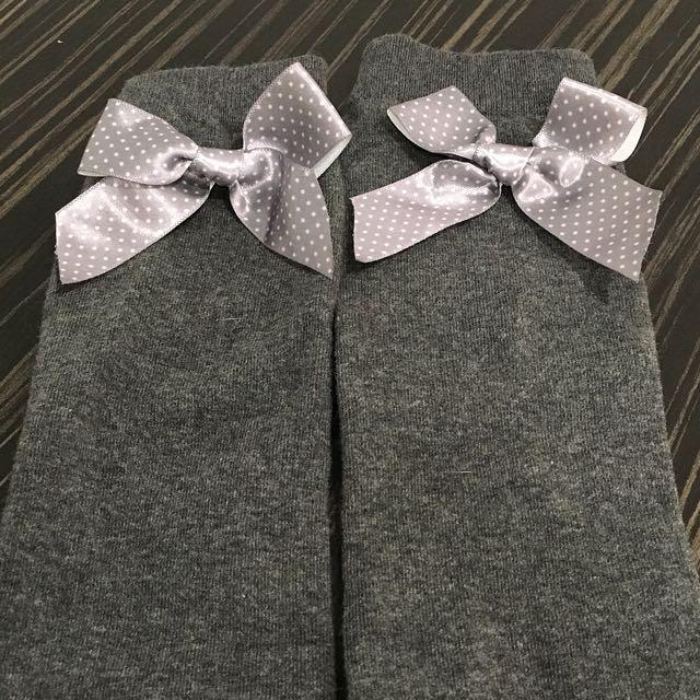 灰白點點蝴蝶結灰色純棉長襪 全新