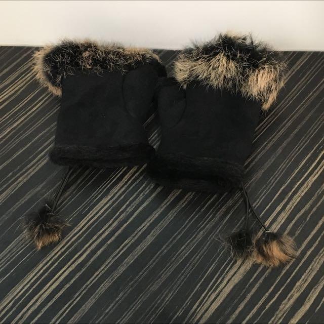 露指麂皮毛絨超溫暖手套 可調式鬆緊度 95成新