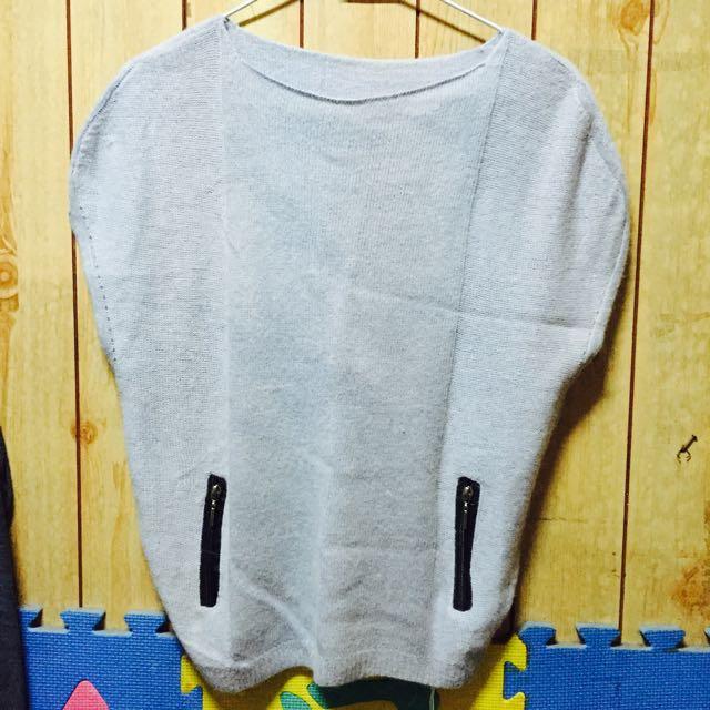 灰色 無袖 毛線衣
