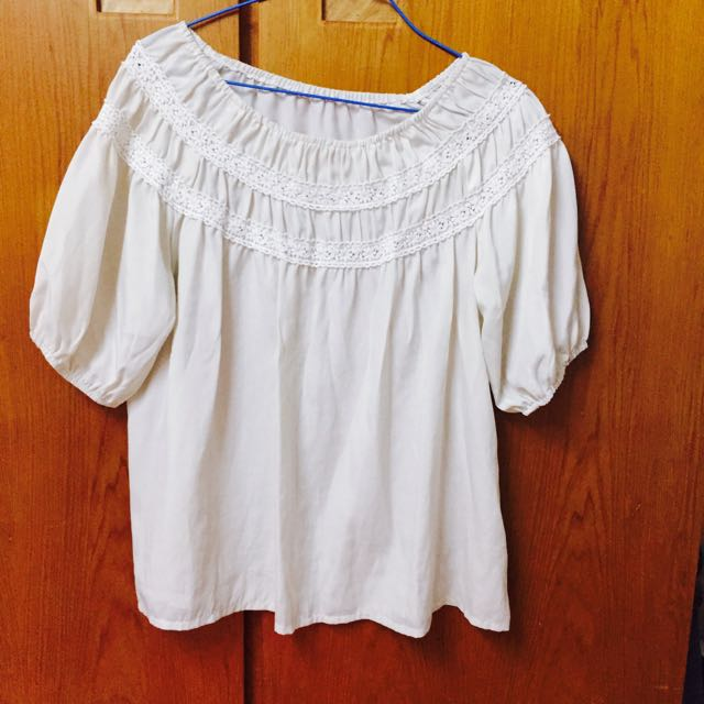 🔥降價🔥白色雪紡蕾絲平口洋 #女裝五折出清