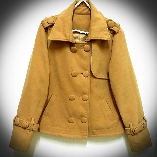 雙排扣 駝色 保暖夾克外套 似vivi款 忍痛出售