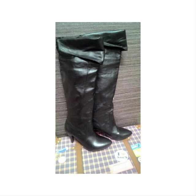 Ann's 黑色 長靴 高跟鞋