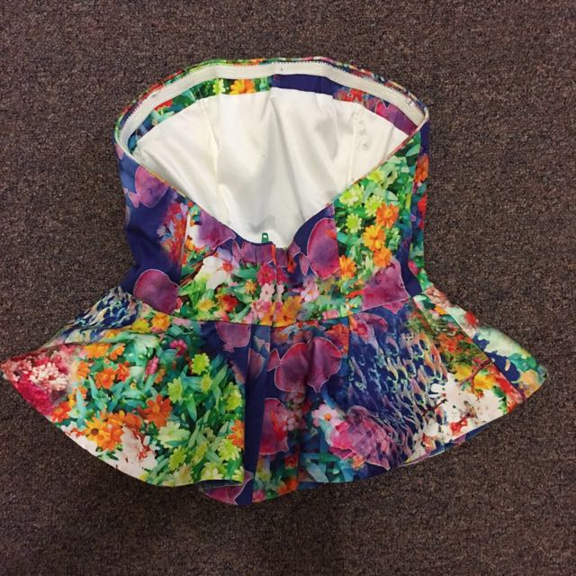 BARDOT Floral Boob Tube With Back Zip | Size 6