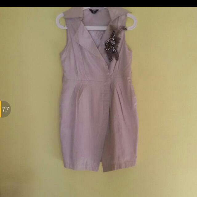 Sale 20% - Beige Mini Dress