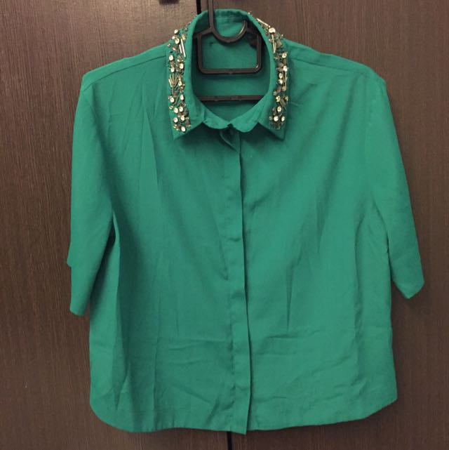 Embellished Collared Top