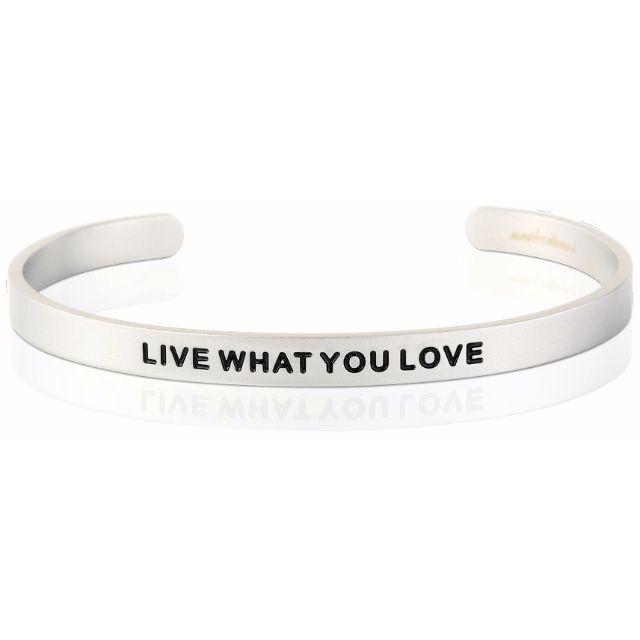 Live What You Love 消光銀色  寬版 Mantraband悄悄話手環