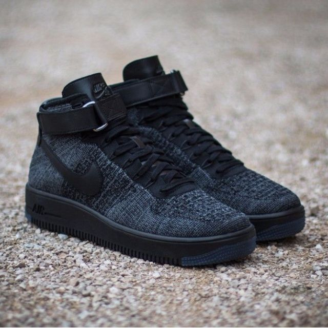 size 40 d4201 ba3f7 Nike Air Force 1 Ultra Flyknit Mid Triple Black, Men's Fashion on ...