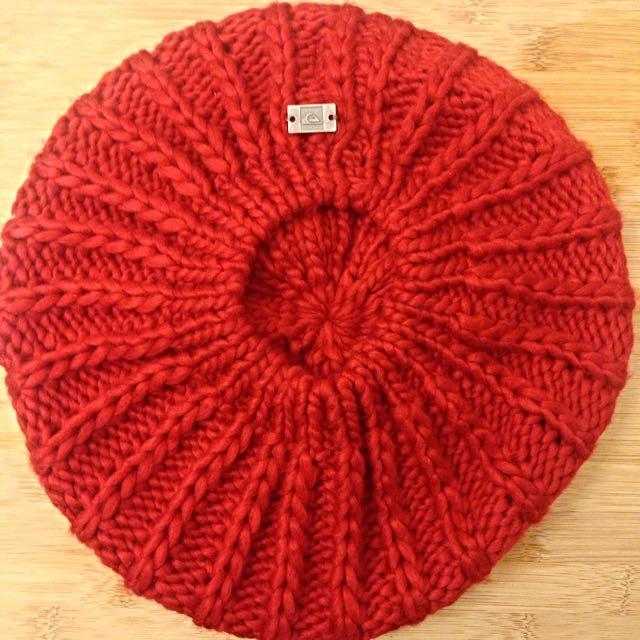 全新Quicksilver紅色貝雷帽毛帽畫家帽