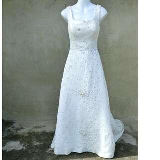 刺繡梅花珍珠腰飾大拖尾禮服 婚禮 自助婚紗46