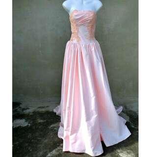 粉色蕾絲亮片平口禮服 自助婚紗 婚禮 47