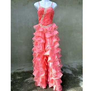 蜜桃橘粉細肩帶抓皺多層禮服 婚禮 自助婚紗 49