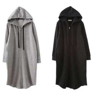 超長版內刷毛連帽棉質運動休閒百搭外套-黑色