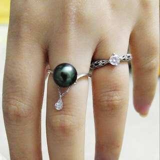 18k白金鑽石大溪地黑珍珠戒指
