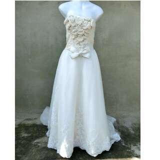 華麗玫瑰蕾絲大拖尾平口禮服 婚禮 自助婚紗 51