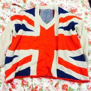 英國 國旗 厚 針織 寬鬆 毛衣