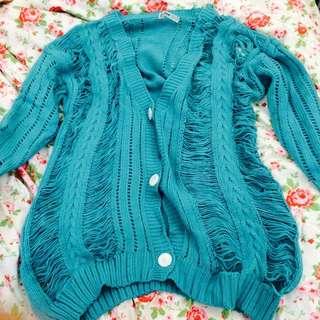 韓版 破洞造型 藍綠色 真知毛衣 長版 外套