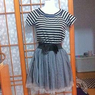 006 條紋網紗短洋裝