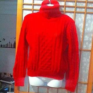 008 紅色套頭毛衣