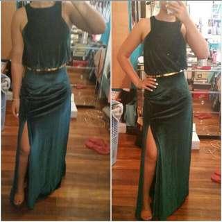 Formal Dress - Dark Velvet Green - Size 8