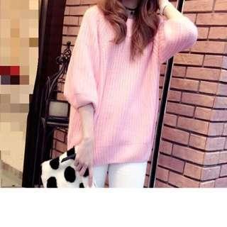 針織粉紅上衣