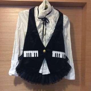 獨一無二鋼琴琴鍵印花繞頸荷葉蛋糕紗下擺毛料背心