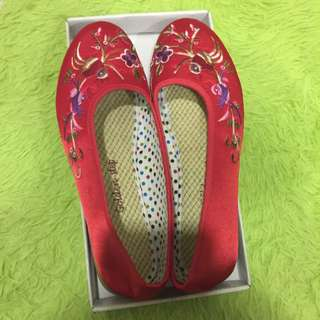 Red Embroidery Cover Shoes