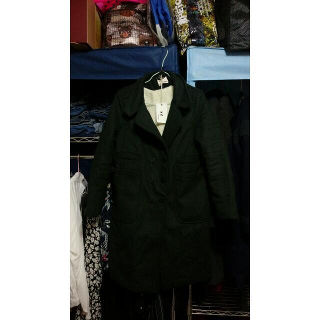 全新墨綠色大衣