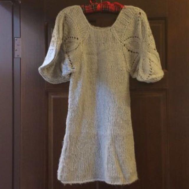 公主袖毛缐長版衣