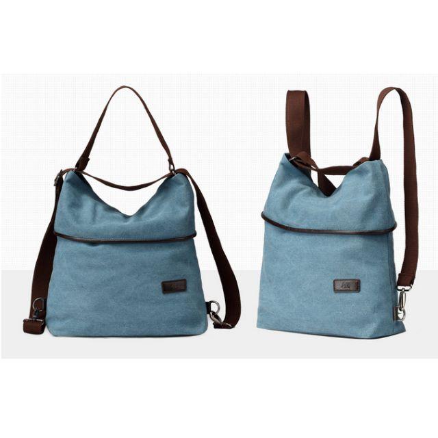 全新現貨免運-多功能純棉帆布肩背手提後背包