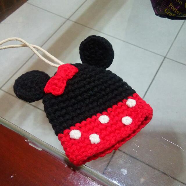 可愛針織米妮鑰匙包