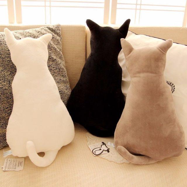Alice 創意背影貓 背影貓咪抱枕公仔靠墊 日本創意新品 超療癒 45公分 剪影貓 女生生日禮物 喵星人 貓玩具