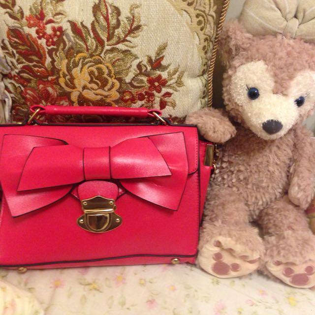 蝴蝶結粉紅小包包