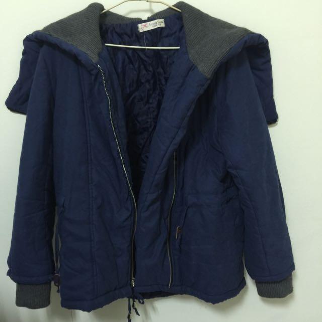 深藍縮腰外套