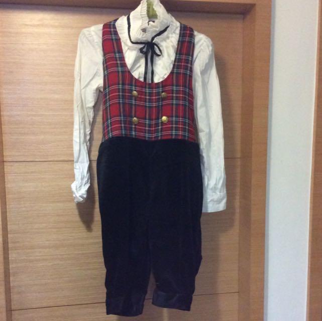 英國風味濃厚蘇格蘭格紋拼接毛料小騎士吊帶五分馬褲