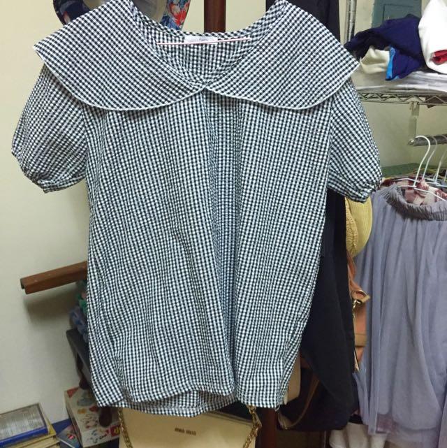 正韓格紋棉麻上衣