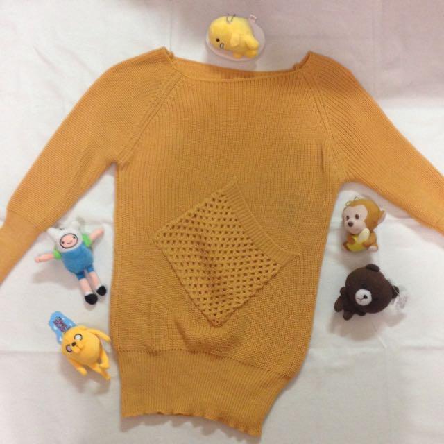 🖼芥黃針織口袋毛衣🎨
