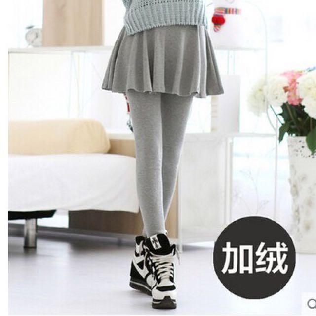 秋冬款時尚加绒加厚打底裤裙 超厚假两件外穿(淺灰色)