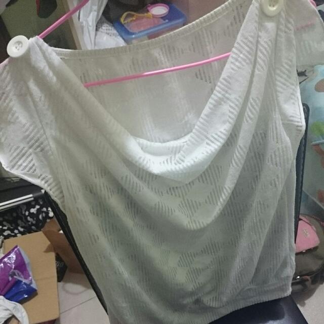透明條紋 性感開肩造型上衣