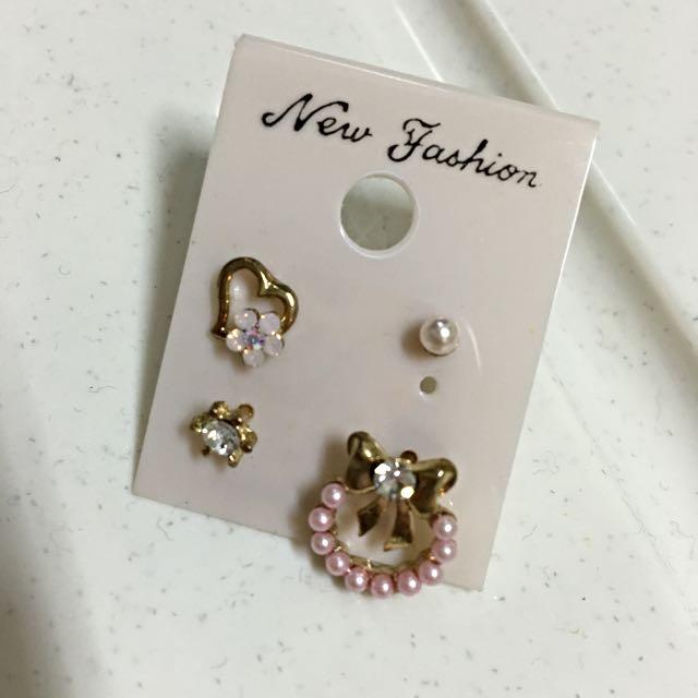 全新現貨 耳針式 韓系耳環四件組