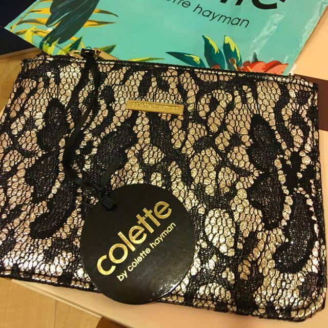 全新 Colette 手拿 蕾絲 金底 小包 澳洲購入
