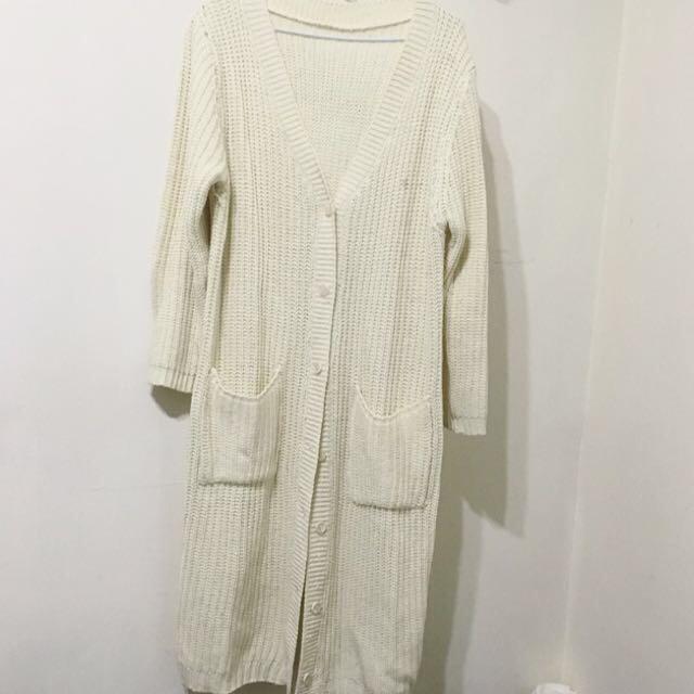 AJPEACE 韓式長版開襟厚針織外套