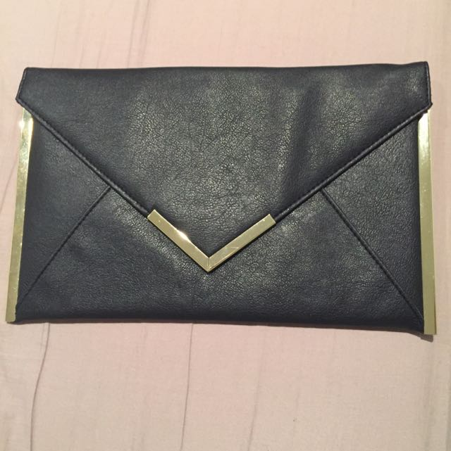 FREE ✈️ ASOS Black Envelope With Gold Trim Clutch