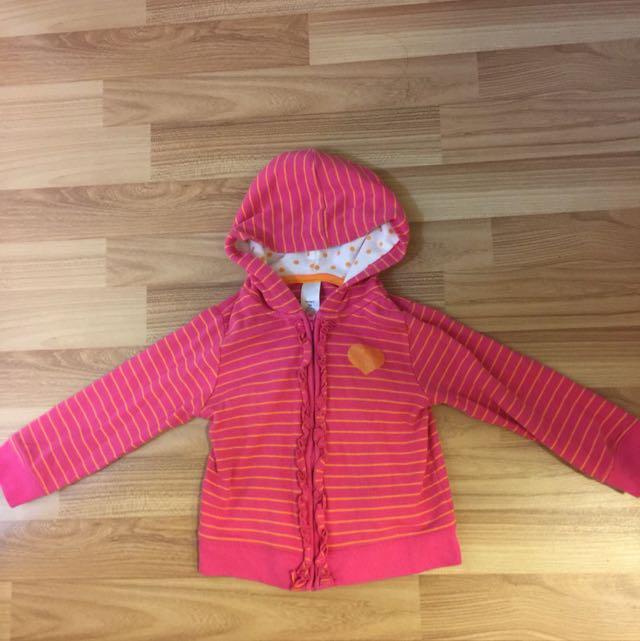 Carter's粉紅色條紋連帽外套-24M