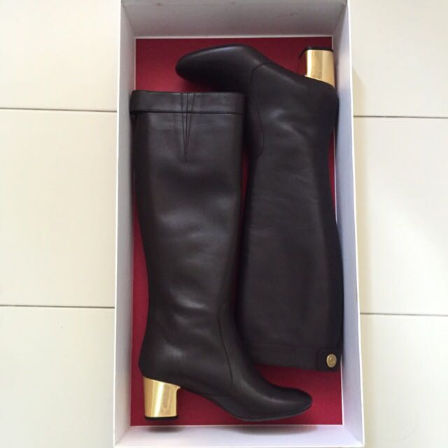0d9bed3b2e0 Celine Bam Bam Leather Boots in Dark Brown (37.5)