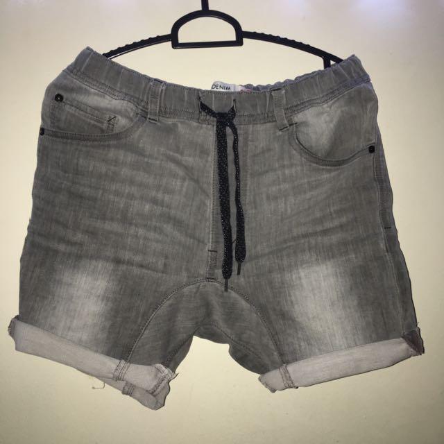 Cotton On Drop Crotch Grey Denim Shorts
