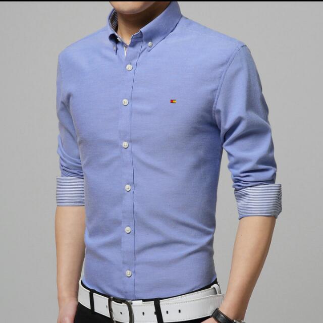 97e3bd0bc54 M-4XL Oxford Dress Shirt Long Sleeve Men Clothes Flannel Shirt ...